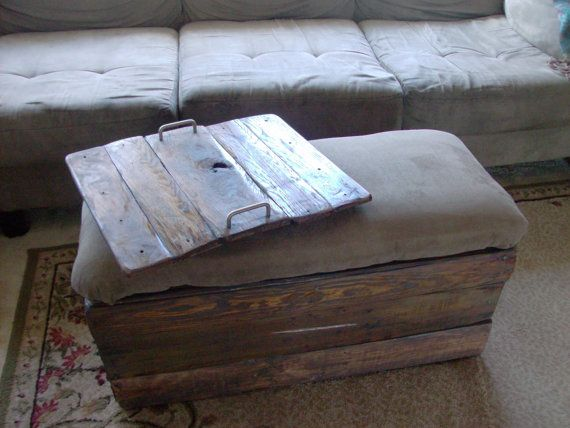 Reclaimed Wood Ottoman ~ Ottoman coffee table storage chest wooden tray rustic