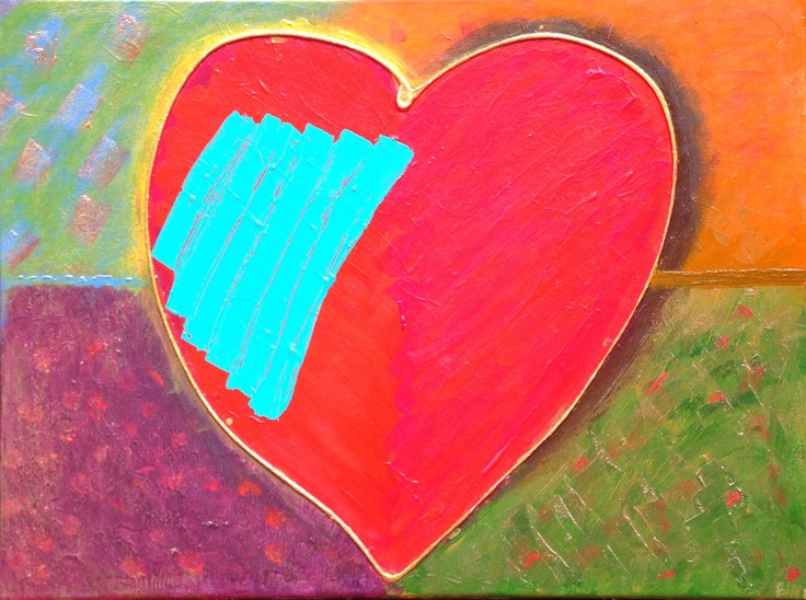 Patched Heart - I painted this piece after a fight with boyfie