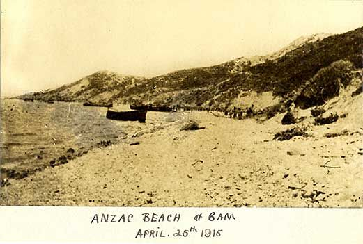 Historic photo: 'Anzac Beach at 6am April 25th 1915' shows landing boats and steep coastline