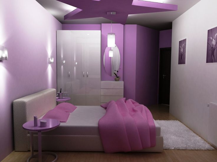Cool Girl Room Designs : Bedroom Fancy And Cool Girl Bedrooms Design Ideas Of Chic Purple Bedroom Theme Including A Bed With Purple Pillows And Blanket Combine With A Small Purple Round Shaped Table In The Side Also A White Rug Carpet On Brown Floor, Purple Wall Complete With A White Wardrobe And A Mirror, A White Hanging Lamp, Pendant Lamp And A Tiny Vase With A Flower, A Purple Star Counter Top Also Purple Paintings On White Wall