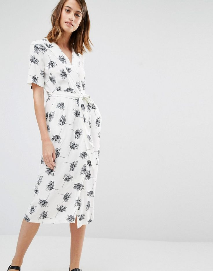 Warehouse+Stencil+Floral+Wrap+Midi+Dress