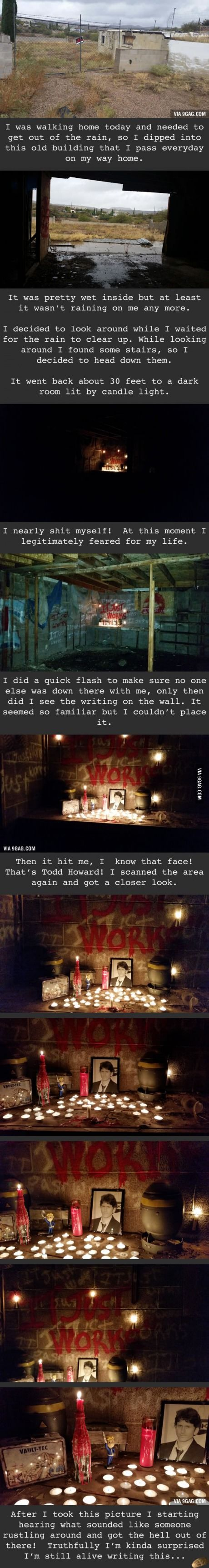 """Some dude found a """"Fallout Shrine"""" in an old building..."""