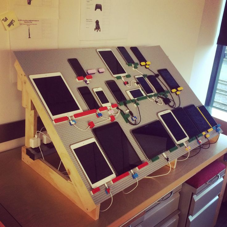 A teammate and I built this device lab frame for our team using wood scraps and Lego.