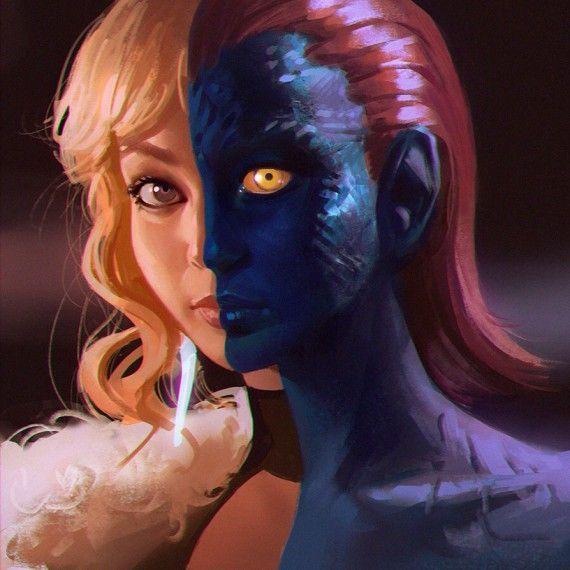 Les portraits d'héroïnes de Ilya Kuvshinov - Mystique (X-Men)