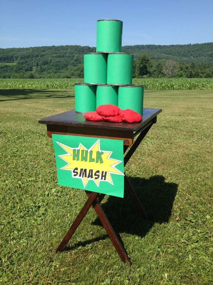 Superhero 4th Birthday   http://CatchMyParty.com Carnival game, can toss