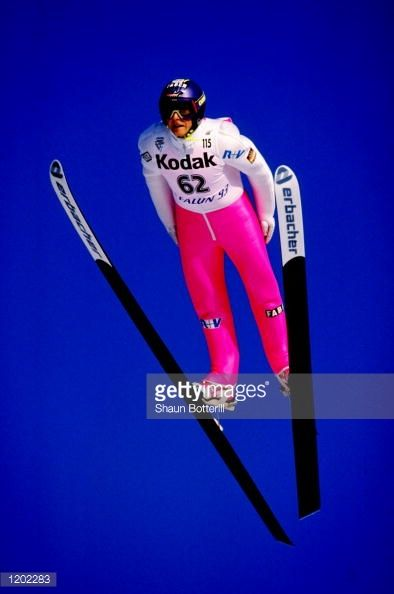 Jens Weissflog of Germany in action during the 115 metres Ski Jump event at the Nordic World Ski Championships in Falun Sweden Mandatory Credit Shaun...