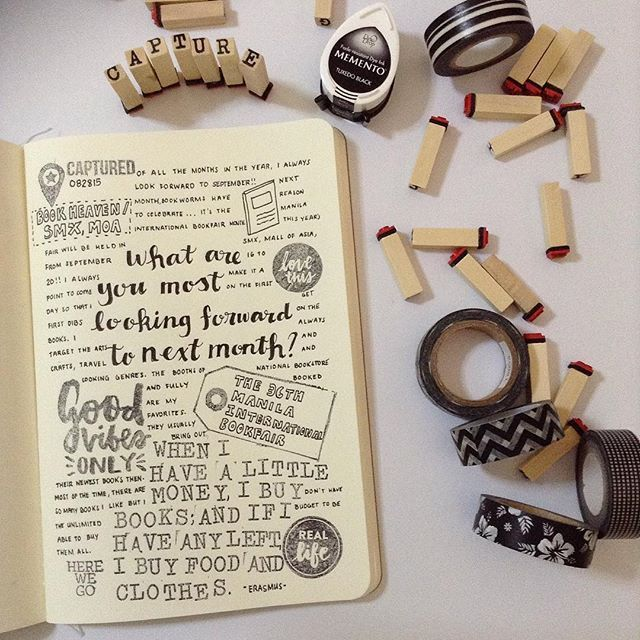 """""""One week from now and it's the Manila International Book Fair . Prompt from the #lifecapturedproject . #clearstamp #stamp #memento #kellypurkey #kellypurkeystamps #fiskars #techniquetuesday #simplestories #journaling #artjournal #artjournaling #craftsph #mibf2015 #labradorph #labradorfactory #labradorphilippines #designedbych"""" Photo taken by @imfeelingcraftytoday on Instagram, pinned via the InstaPin iOS App! http://www.instapinapp.com (09/08/2015)"""