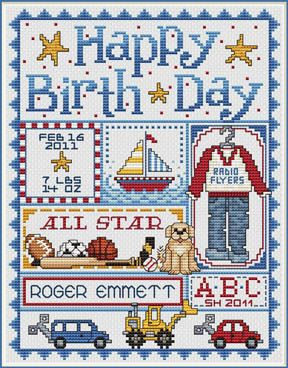 Sue Hillis Happy Birth Day (Boys) - Cross Stitch Pattern. Model stitched on 14 Ct. Antique White Aida or 28 Ct. Antique White Lugana with DMC floss Sullivans or
