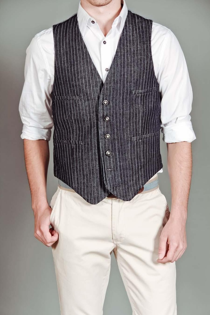 Pinstripe Denim Vest Navy: Denim Vests, Mens Fashion, Business Casual, Pinstripe Denim