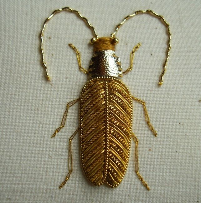 Goldwork Embroidery Beetles