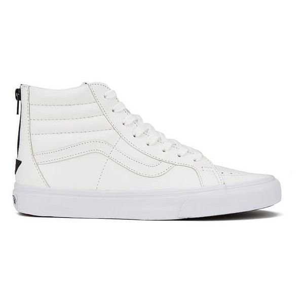 Vans Men's Sk8-Hi Reissue Zip Premium Leather Trainers - True... ($74) ❤ liked on Polyvore featuring men's fashion, men's shoes, men's sneakers, white, mens white shoes, mens lace up shoes, mens low top sneakers, vans mens shoes and mens black leather high top sneakers