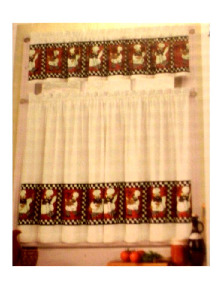 Decorate Your Fat Chef Themed Kitchen With This Complete Curtains Set. The  Body Of The Curtains Are White With Red Blocks Of Chefs Surrounded By Blac