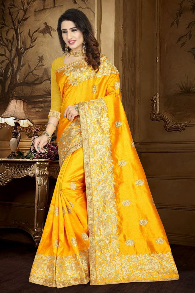 bae48bc80d Golden Yellow Embroidered Saree with Unstitched Blouse in 2019 ...
