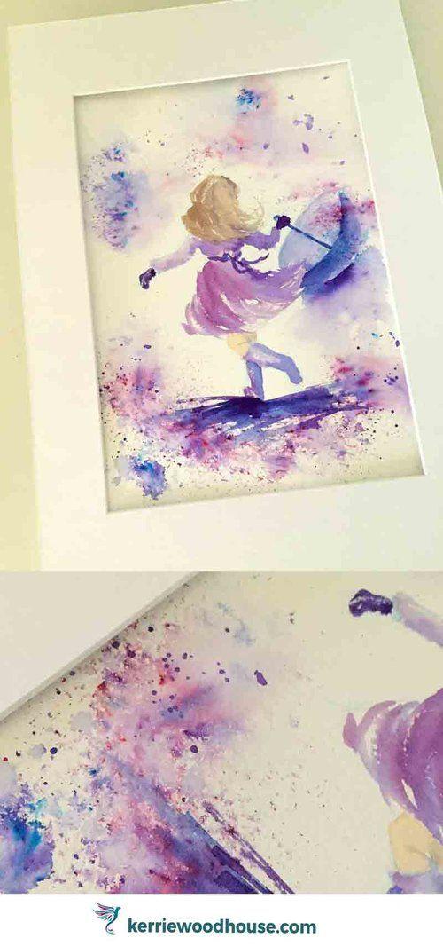 Rainy Days 6 Dancing in the Rain Original Watercolour Painting | loose watercolor | wall art | whimsical art | kids room | children's decor | purple | blue | violet | magical