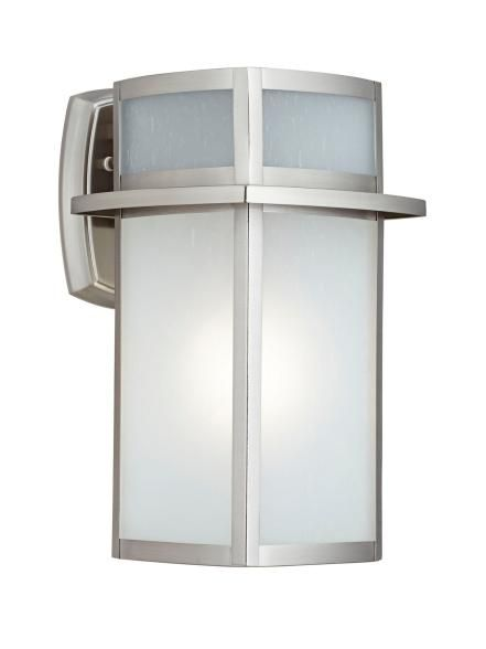 "Possini+Delevan+13""-tall+steel+outdoor+light+in+brushed+nickel+finish,+$150,+lampsplus.com"