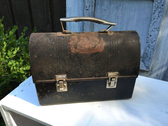 Old Metal Lunch Box Black Rusty Chippy Vintage by Pincapallina