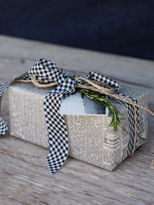 Newsprint Wrap gift wrapping presents packaging blue gingham ribbon bow