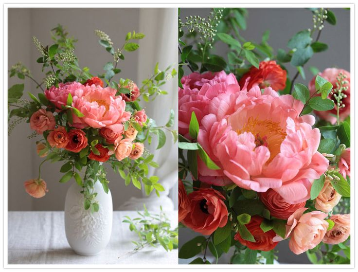 Gorgeous.   Peonies and ranunculus. The seeded Eucalyptus is a nice touch too.