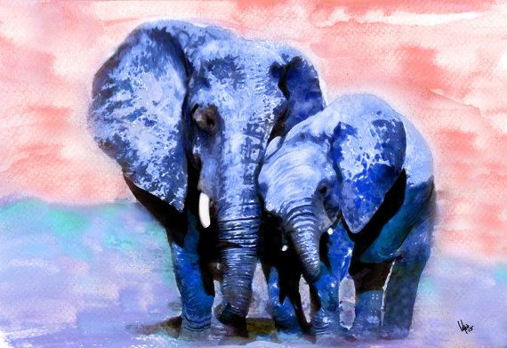 watercolor painting elephant painting of elephant Print by VyaArt