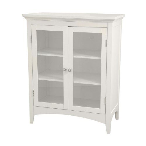 #Elegant Home Fashions Madison Avenue Collection Shelved Double-Door Floor Cabinet, White. Item is non-returnable