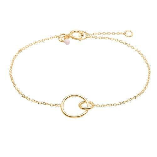 Bracelet, double circle, light pink dot, gold plated sterling silver