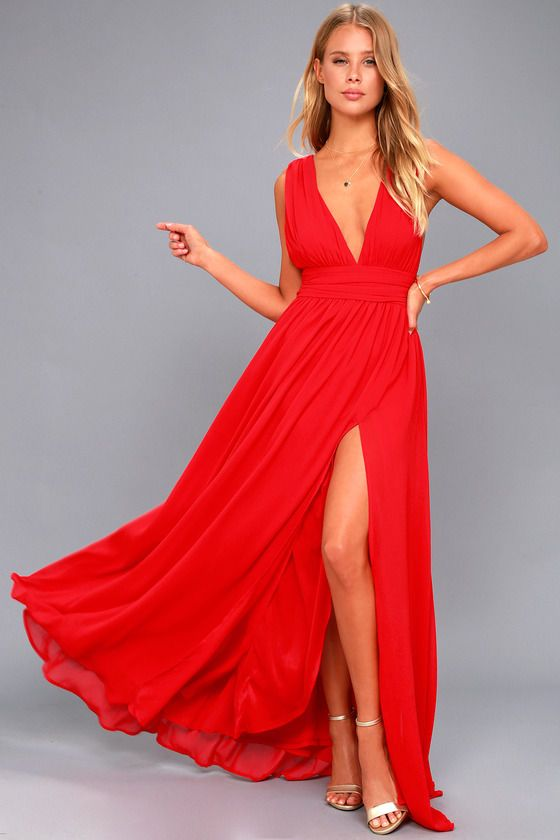 Lulus Exclusive! You'll be goddess-like for the entire evening in the Heavenly Hues Red Maxi Dress! Georgette fabric drapes alongside a V-neck and back, and lays across a banded waist. Full maxi skirt has a sexy side slit. Hidden back zipper with clasp.