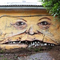 Street artist Nomerz transforms urban objects into quirky faces. Most works are in the artist hometown - Nizhny Novgorod, Russia.