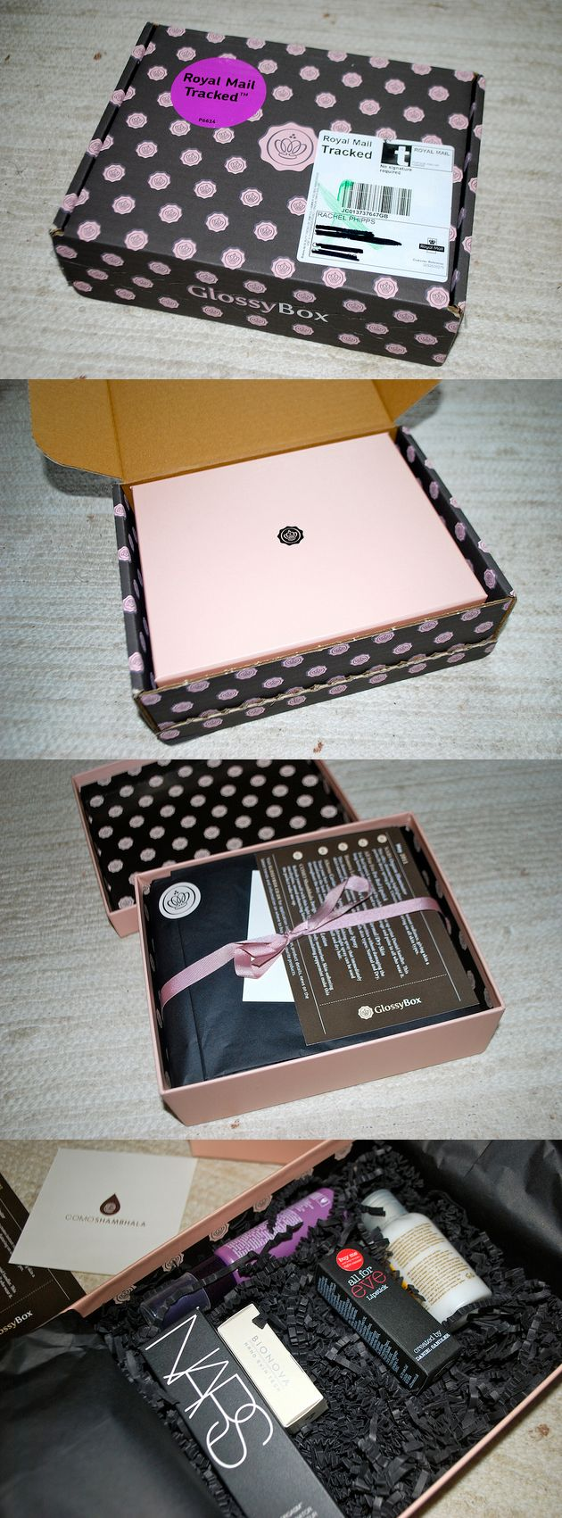 Folded box packaging. seal with big logo sticker?   Inside: small emblem sticker, ribbon.    Glossy box.
