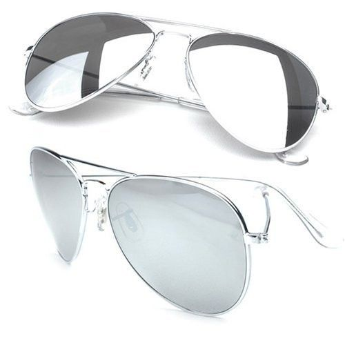 Classic Silver Mirror Aviator Style Sunglasses 1104, Worn by no other than Michael Jackson, these Glasses are really iconic.  When I look at you, I see myself. No. Really. I can see myself in your silver mirror aviator sunglasses. All your conceited friends will love when you wear these glasses because they can check themselves out while pretending to pay attention!    Flight enthusiasts and fans will also love these glasses because they clearly show you're not just a pilot..