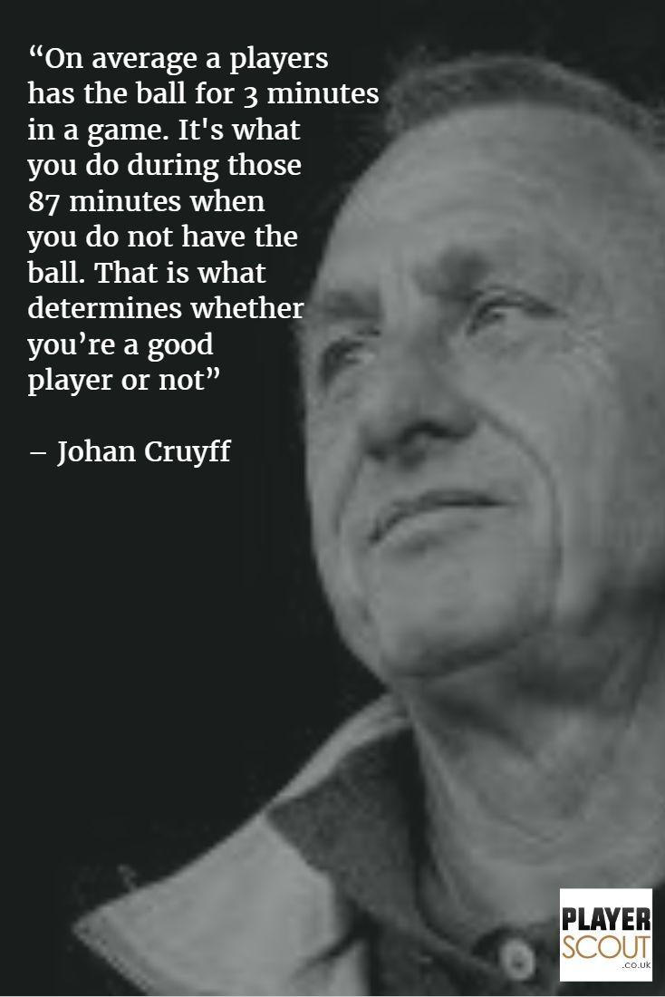 Johan Cruyff expresses the importance of working hard without the ball. #footballquotes #soccerquotes