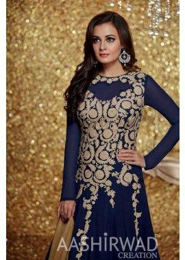 marine couleur georgette, costume Anarkali net, - 101,00 €, #LaModeIndienne #LaModeeExclusive #TuniqueHindou #Shopkund