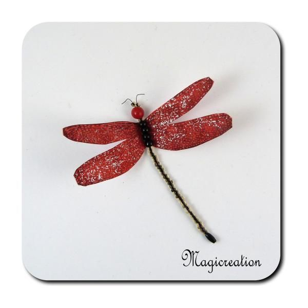 MAGNET LIBELLULE SOIE ROUGE-EVINRUDE - Boutique www.magicreation.fr