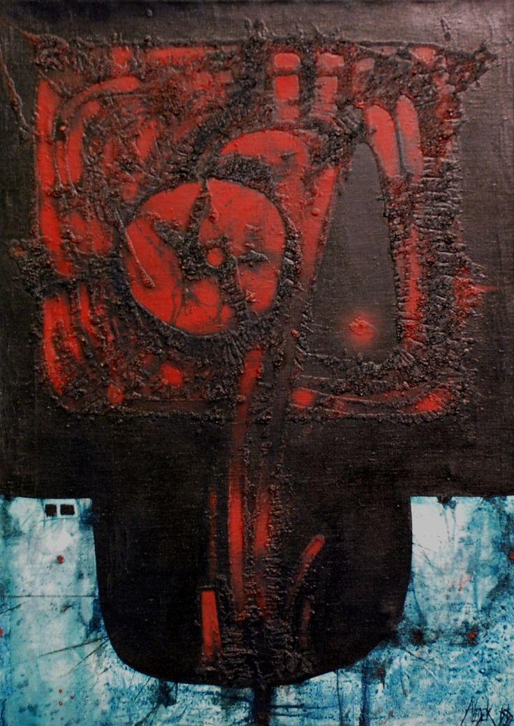 Medek Mikuláš, Sklenice plná nepokoje VI, 1966, olej na plátně, 70 x 50 cm
