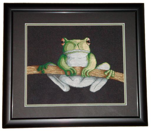 Green Tree Frog Cross Stitch by SmiteTheeWithApples. Of all my designs, this one sells the most.