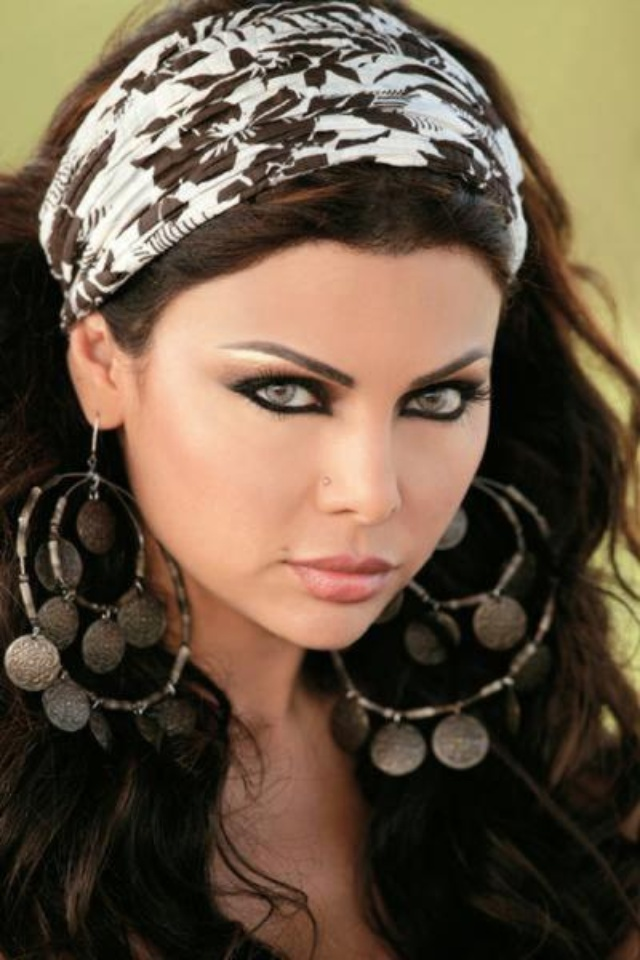 Haifa Wehbe- love the gypsy earings and makeup :) --Reference for King Rehema …