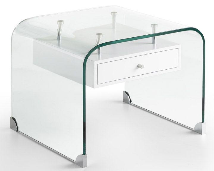 mesa de noche en cristal templado curvado muy moderna, ligera, ideal para tu dormitorio. También sirve como mesilla auxiliar para el salón lateral a un sofá o como soporte para un escritorio. Mia Home.