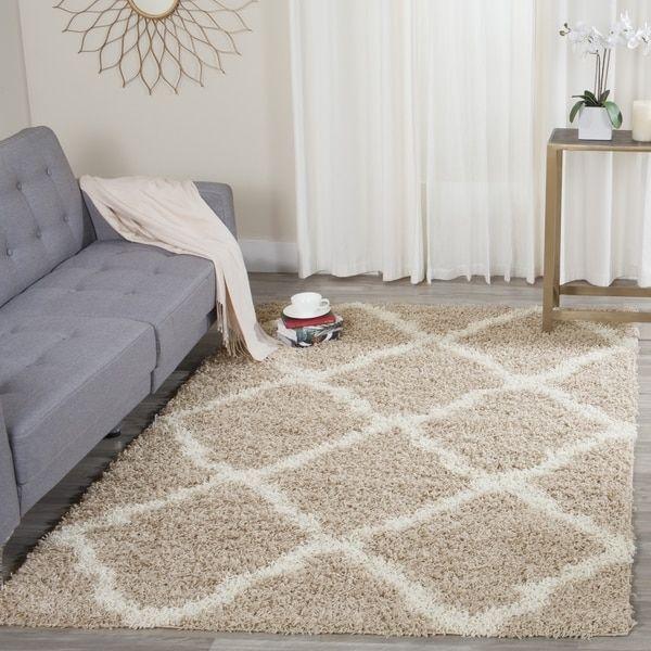 Safavieh Dallas Shag Beige/ Ivory Trellis Large Area Rug (10' x 14')