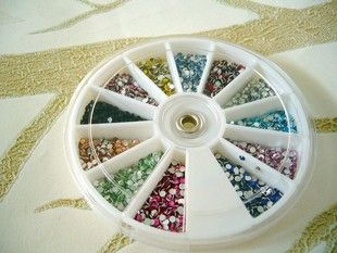 2mm DIY bling rhinestones 2400pcs storage wheel included Random colors | chriszcoolstuff - Craft Supplies on ArtFire http://www.artfire.com/ext/shop/product_view/6238896