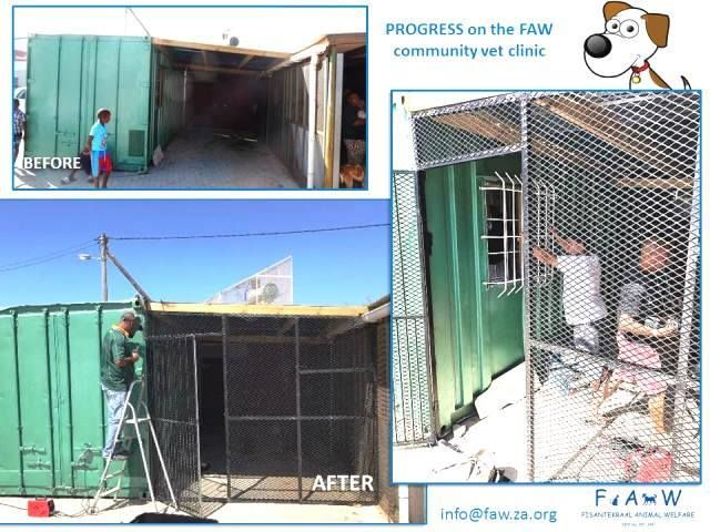 This weekend, we saw some hard work and progress! Now our new container is safe n sound from burglaries (sadly a fact of life!).  Our next step is drywalling, insulation, and vinyl flooring. BUT! This is cleaning out our account. :-o This clinic is absolutely crucial and we are so grateful to those who have donated towards it.  Nedbank - Fisantekraal Animal Welfare - Cheque account - Acc no: 1039094171 – Branch no: 10 39 10 (Tygervalley) - Reference: CVC