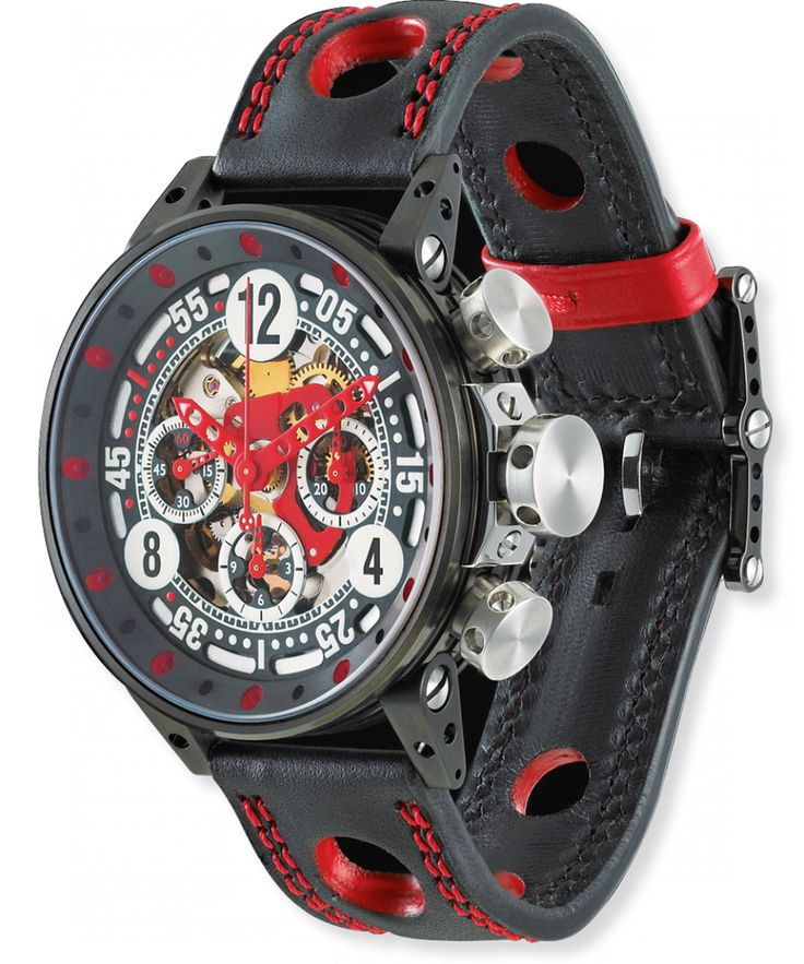 B.R.M. Watches V12-44 Sport Red Hands #bezel-fixed #bracelet-strap-leather…