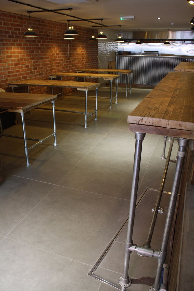 Here's a recent commercial commission we undertook, kitting out a gastro burger joint with tables and bar areas using scaffold poles and reclaimed wood scaffold boards. Nice, huh? #interiors #reclaimedwood