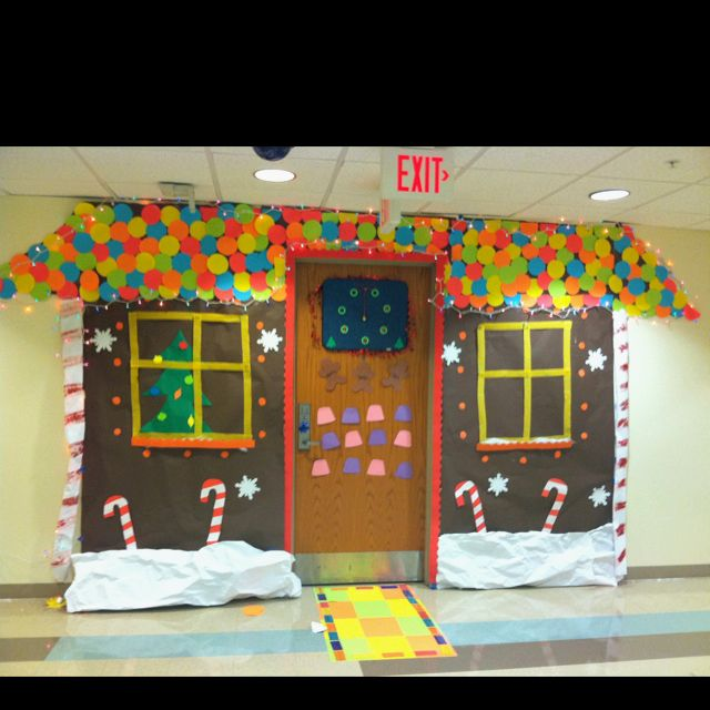 This is how we decorated our dorm room door for the for How to decorate apartment door for christmas