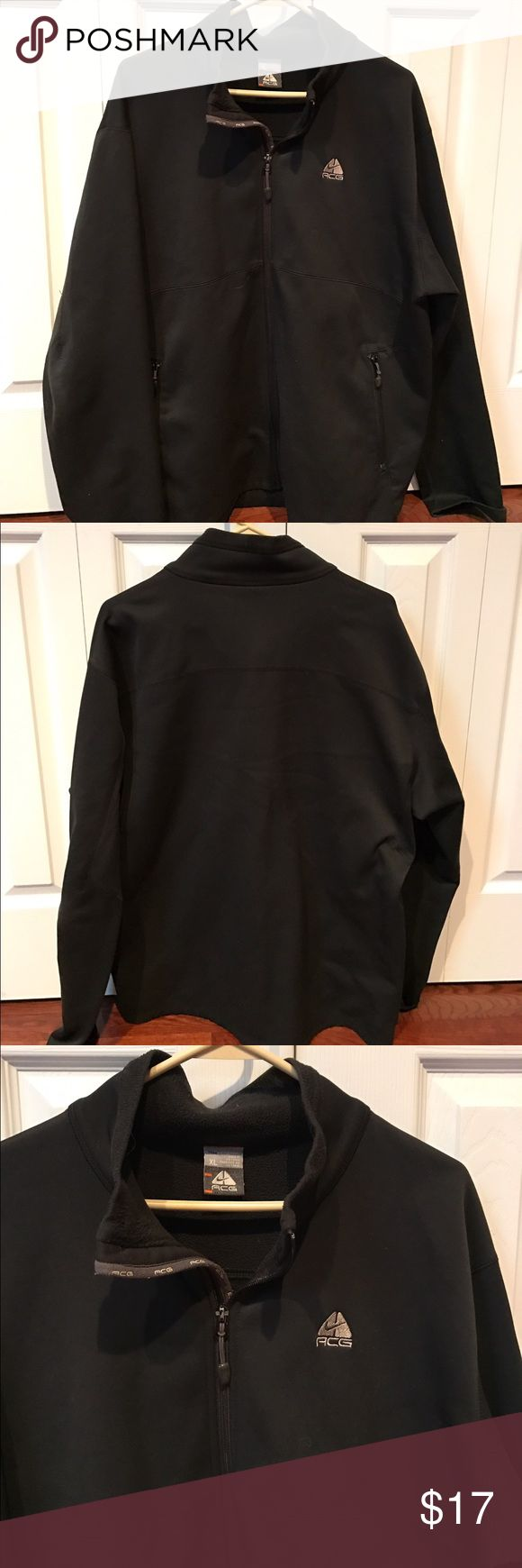 Nike ACG Jacket Nike ACG Jacket size XL.  Excellent condition. 100% polyester. Therma- fit soft shell wind resistant. Soft fleece inside. 2 zip side pockets. Nike Jackets & Coats