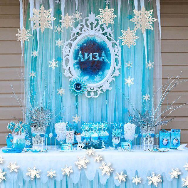 Online Shop Frozen White Blue Birthday Party Kits Supplies Paper