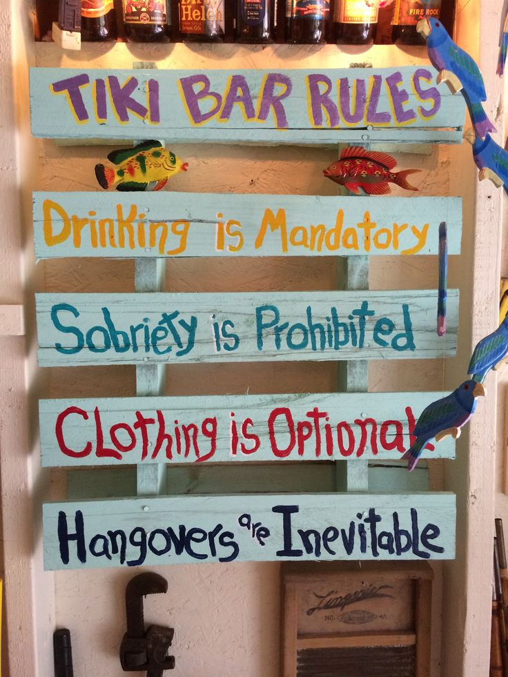 New sign in the tiki bar