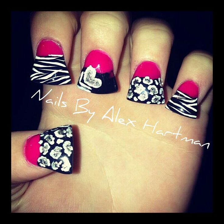 54 best Zebra & Animal Print Nails images on Pinterest | Nail ...