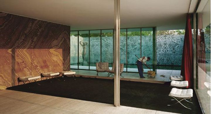 Jeff Wall, Morning Cleaning, 1999 - Mies van der Rohe, Barcelona pavilion, 1929