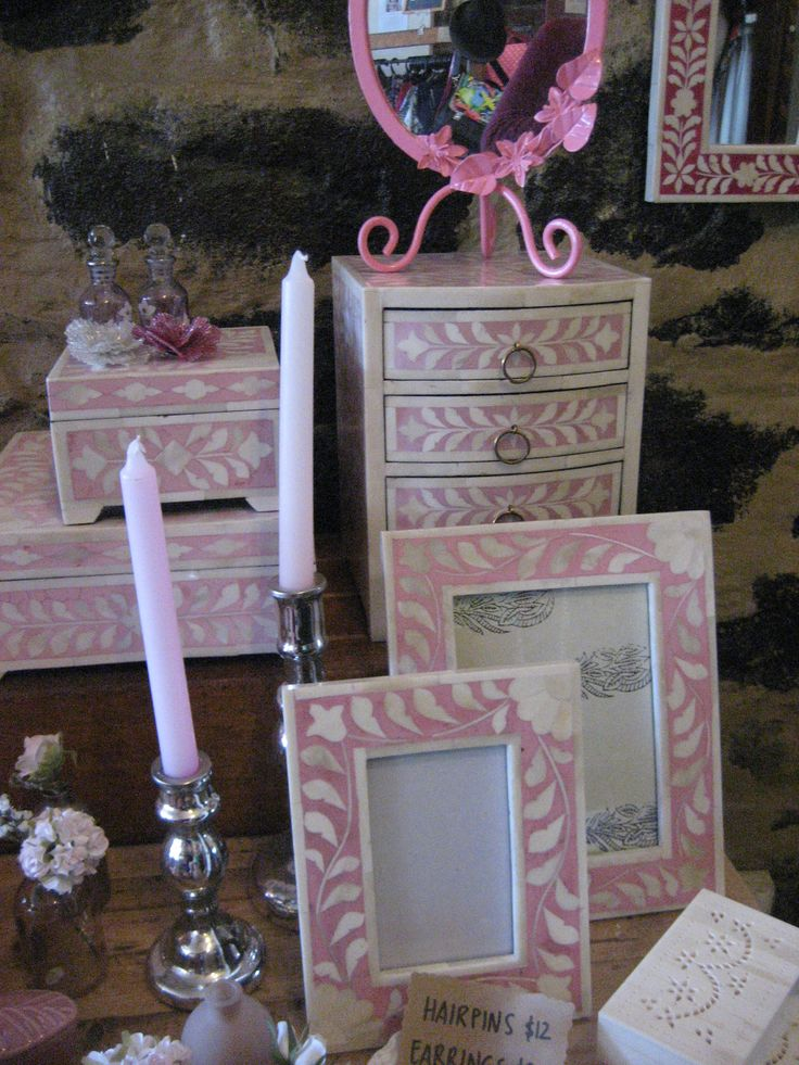 Pink inlay boxes and frames
