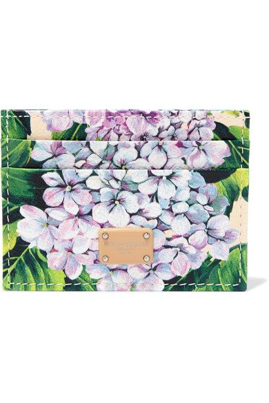 Dolce & Gabbana - Dauphine Floral-print Textured-leather Cardholder - Green - one size