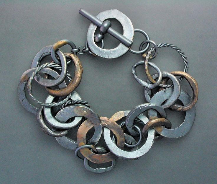 Bracelet | Temi Kucinski.  Sterling silver and bronze, with oxidized patina.